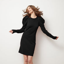 Load image into Gallery viewer, Black Draped Sleeve Dress | Little Black Dress | Puff Shoulder Dress | Autumn Cashmere