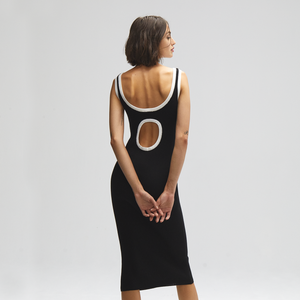 Autumn Cashmere. Rib Midi Tank Dress with Porthole Back.
