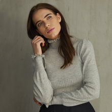 Load image into Gallery viewer, Victorian Rib Pointelle Mock in Grey. Lightweight Cashmere Sweater Women's. Autumn Cashmere.