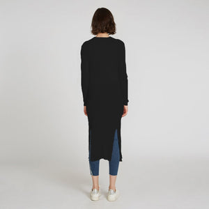 Cotton Rib Drape Maxi Cardigan in Navy Blue