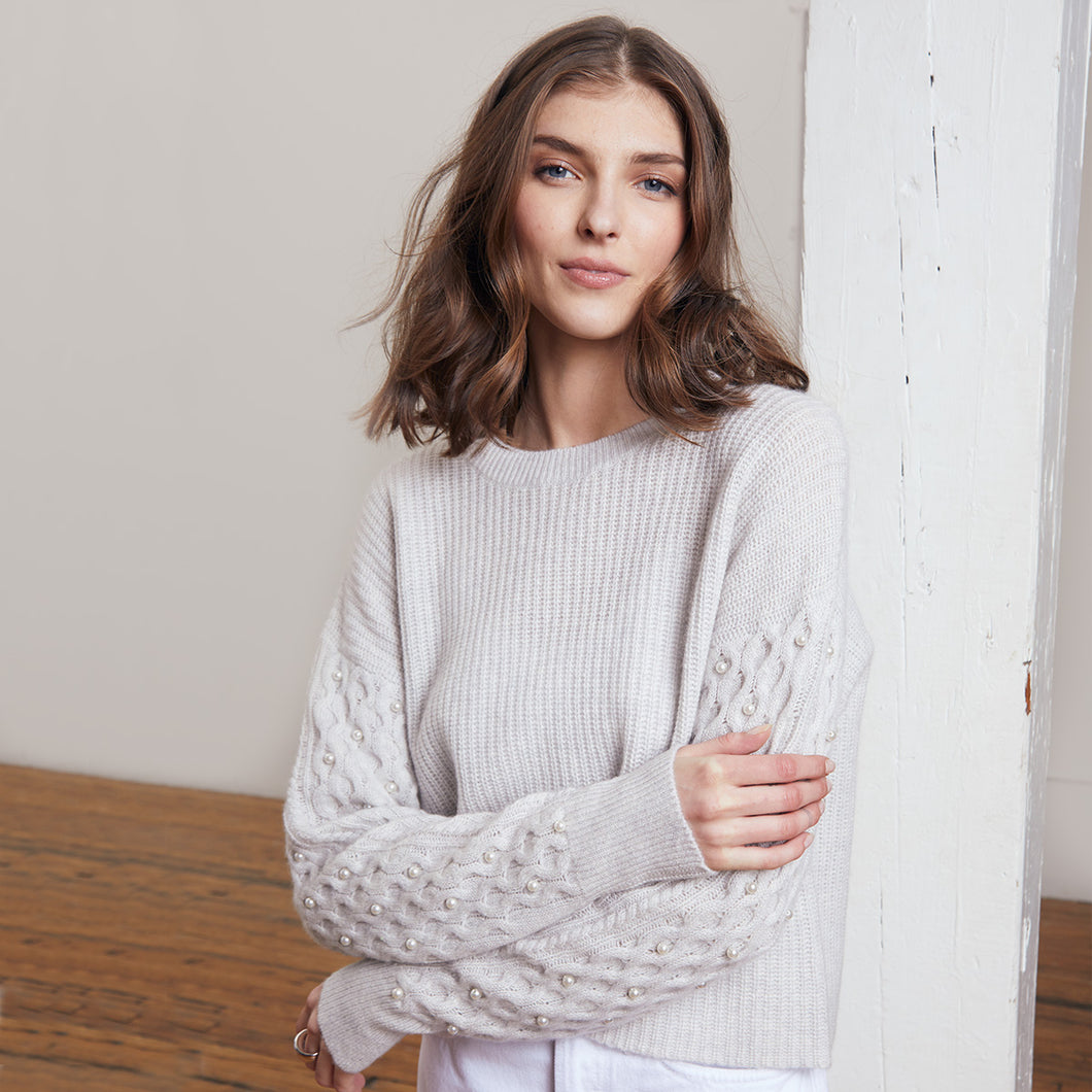 Shaker Crew Pearl Cable Sleeves in Grey | Women's Sweater Pullover | Autumn Cashmere