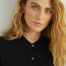 Load image into Gallery viewer, Cropped Rib Polo Cardigan in Black