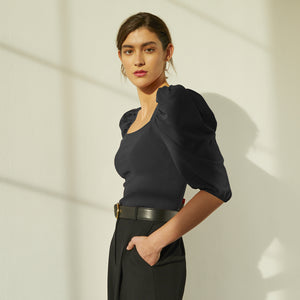 Square Neck Puff Sleeve in Black. Women's Black Blouse. Italian Viscose. Autumn Cashmere