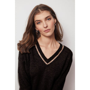 Deep V-Neck with Rings in Black | Women's Apparel & Knitwear | Autumn Cashmere