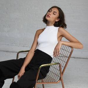 Autumn Cashmere. Asymmetric One Shoulder Crew in White. Women's White Top. Viscose Blend.