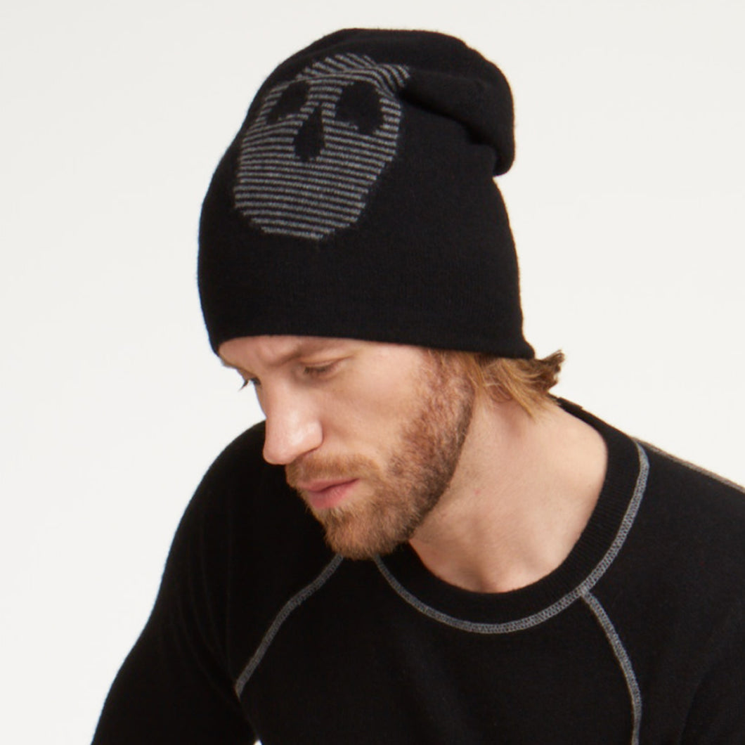 Reversible Feeder Stripe Skull Hat
