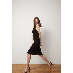 Halter Dress with Snap Detail | Little Black Dress | Women's Apparel & Night out dress | Viscose Blend | Autumn Cashmere