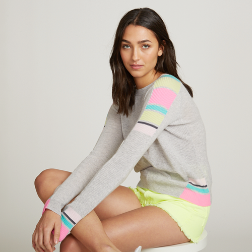 Cropped Crew Athletic Striped Rib Inserts. Striped Pastel Sweater. Autumn Cashmere.