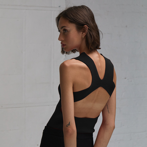 Autumn Cashmere. Open Back Muscle Tee in Black. Women's Athletic Leisure Top. Viscose.