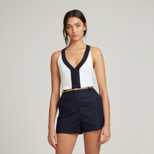 Load image into Gallery viewer, 2-Tone Rib Halter V-Neck