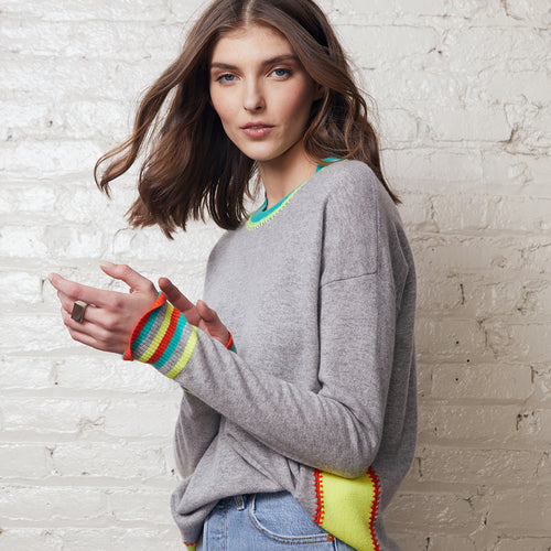 Color Blocked Crew with Crochet Detail in Grey | Color Block Pullover Sweater | Women's Apparel | Autumn Cashmere