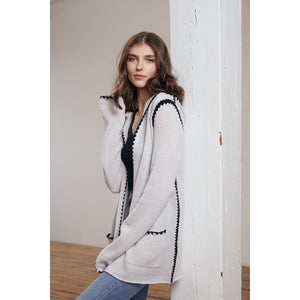 Open Hoodie with Crochet Stitching in Sleet | Hoodie Jacket Pockets | Women's Apparel | Autumn Cashmere