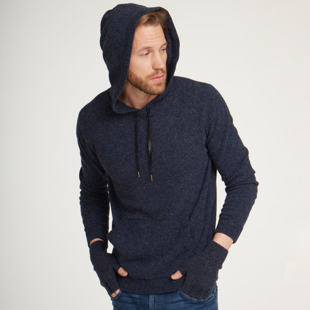 Men's Hoodie Sweater with Leather Strings by Autumn Cashmere. Nightsky Navy Blue. 100% Pure Cashmere.