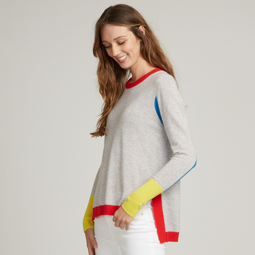 Hi Lo Color Blocked Crew Sweater. Primary Color Block Sweater. Lightweight. Autumn Cashmere.