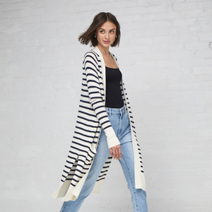 Maritime Stripe Open Cardigan. Black and White Striped Long Cardigan. Autumn Cashmere.