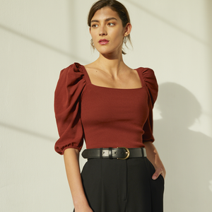 Women's Square Neck Puff Sleeve Top. Viscose Yarn. Women's Dark Red Blouse. Autumn Cashmere