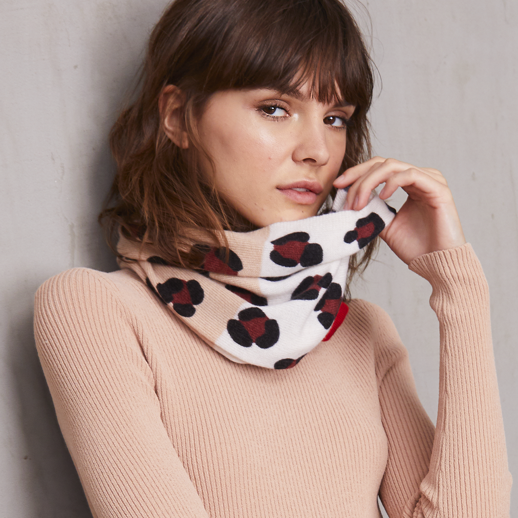 Leopard Print Color Block Snood