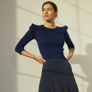 Square Shoulder Crew Sheer Armhole in Navy. Women's Fitted Top in Dark Blue. Italian Cotton. Autumn Cashmere
