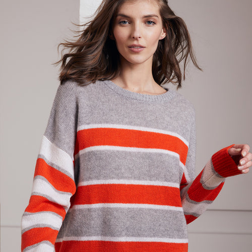 Boxy Stripe Block Crew Pullover | Women's Apparel & Sweaters | Autumn Cashmere