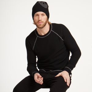 Men's Reversible Raglan with Top Stitch by Autumn Cashmere. Men's Sweatshirt. Black. 100% Cashmere.