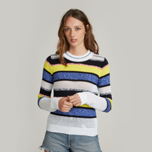Load image into Gallery viewer, Autumn Cashmere. Marled Mixed Stitch Stripe Crew. Women's Stripe Shirt.  Italian Cotton.