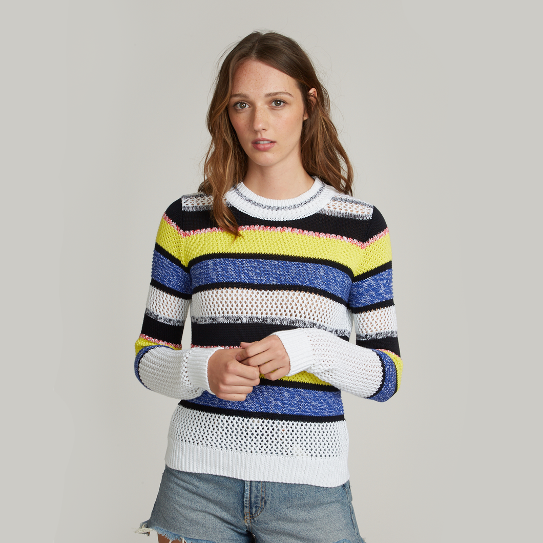 Autumn Cashmere. Marled Mixed Stitch Stripe Crew. Women's Stripe Shirt.  Italian Cotton.