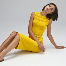 Load image into Gallery viewer, Autumn Cashmere. Mesh/Tuck Stitch Muscle Tee Dress in Marigold. Viscose.