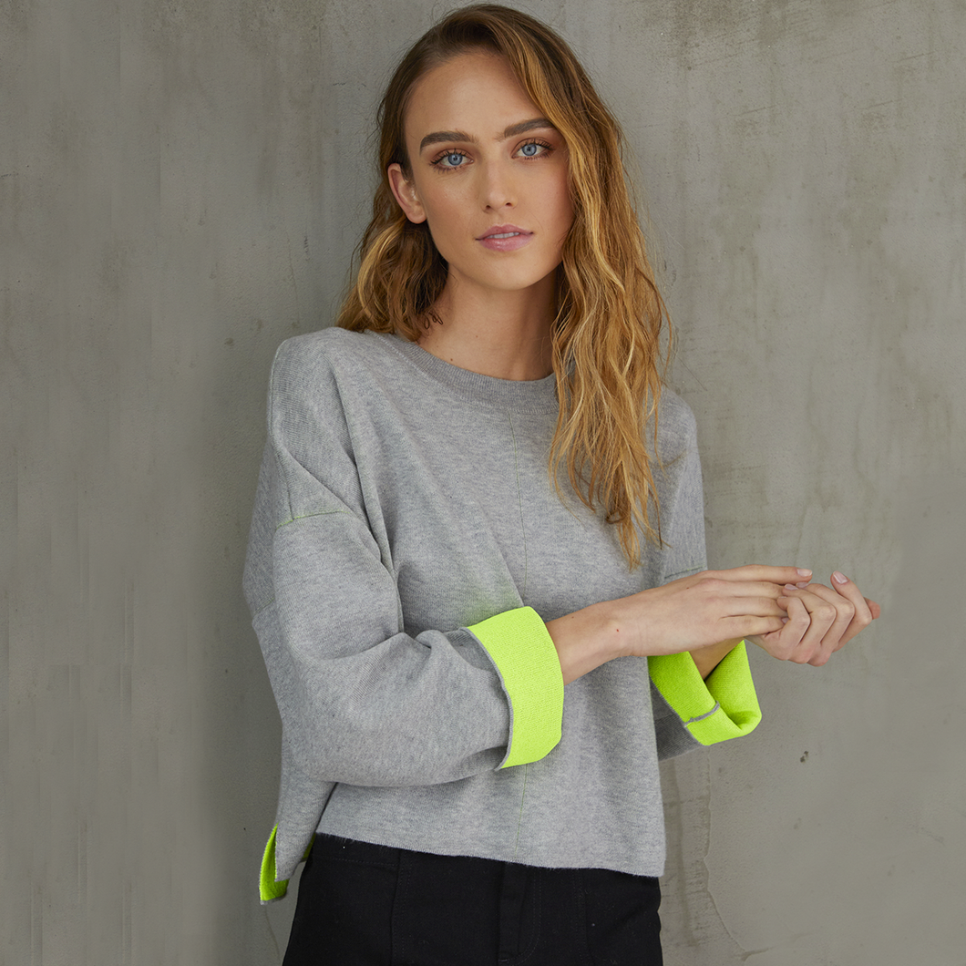 Women's Double Face Neon Crew Sweater. Grey Neon Yellow. Autumn Cashmere.