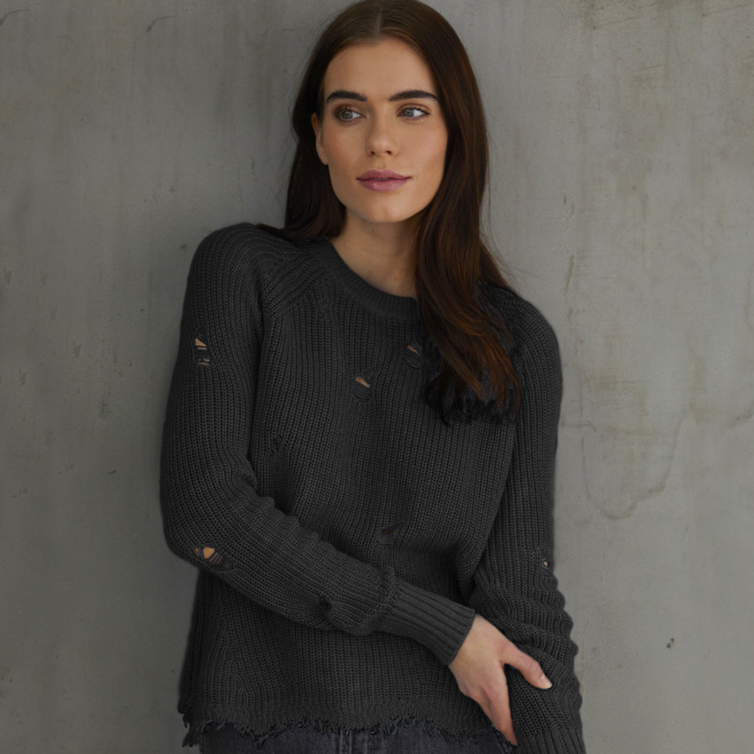 Distressed Scallop Shaker in Black. Women's Distressed Cotton Sweater. Autumn Cashmere.