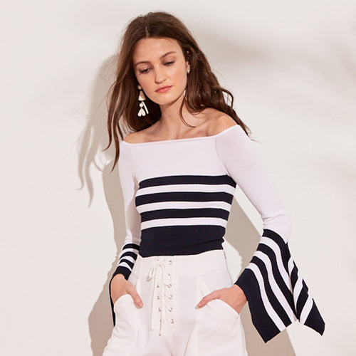 Striped Off The Shoulder Top with Draped Sleeves | Stripe Top | Night out Outfit | Autumn Cashmere