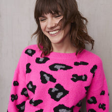 Load image into Gallery viewer, Leopard Crew in Atomic Pink | Autumn Cashmere