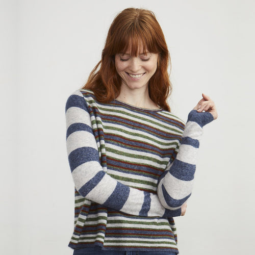 Stripe Block Crew in Denim Multi | Autumn Cashmere