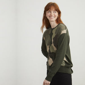 Oversized Camo Cotton Pullover | Autumn Cashmere