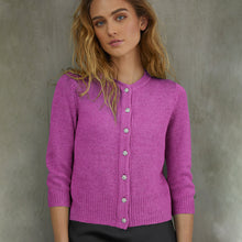 Load image into Gallery viewer, Vintage Baby Cardigan w/ Jewel Buttons in Rose Petal