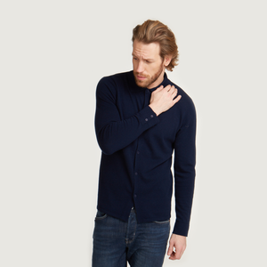 Button Down Collar Shirt in Navy | Mens Collar Shirt | Blue Collar Shirt | Autumn Cashmere