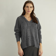 Load image into Gallery viewer, Distressed Pointelle Hoodie in Charcoal