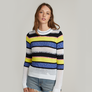 Marled Mixed Stitch Stripe Crew