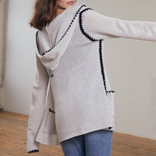 Load image into Gallery viewer, Open Hoodie with Crochet Stitching in Sleet | Hoodie Jacket Pockets | Women's Apparel | Autumn Cashmere