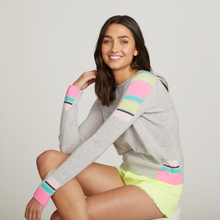 Load image into Gallery viewer, Cropped Crew Athletic Striped Rib Inserts. Striped Pastel Sweater. Autumn Cashmere.