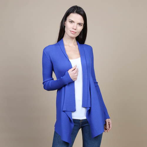 Autumn Cashmere. Cotton Rib Drape in Santorini. Women's Blue Cardigan. 100% Italian Cotton.