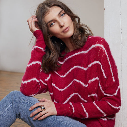 Cropped Striped Pointelle Crew Pullover Sweater | Women's Apparel & Knitwear | Autumn Cashmere