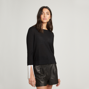 Contrast Split Sleeve Crew. Day to Night Top. Autumn Cashmere.