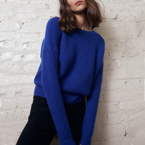 Cropped Shaker Stitch Crew Pullover | Blue Sweater |  Women's Apparel | Autumn Cashmere