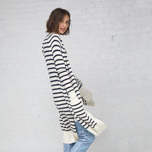 Load image into Gallery viewer, Maritime Stripe Open Cardigan. Black and White Striped Long Cardigan. Autumn Cashmere.