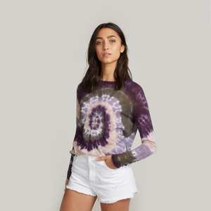 Distressed Edge Pinwheel Tie Dye Crew. Purple Tie Dye Sweater.  Autumn Cashmere.