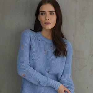 Blue Distressed Scallop Shaker Sweater. Italian Cotton. Autumn Cashmere.
