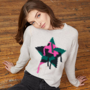 Distressed Fringed Camo Star Crew | Star Sweater & Pullovers | Women's Apparel & Knitwear | Autumn Cashmere