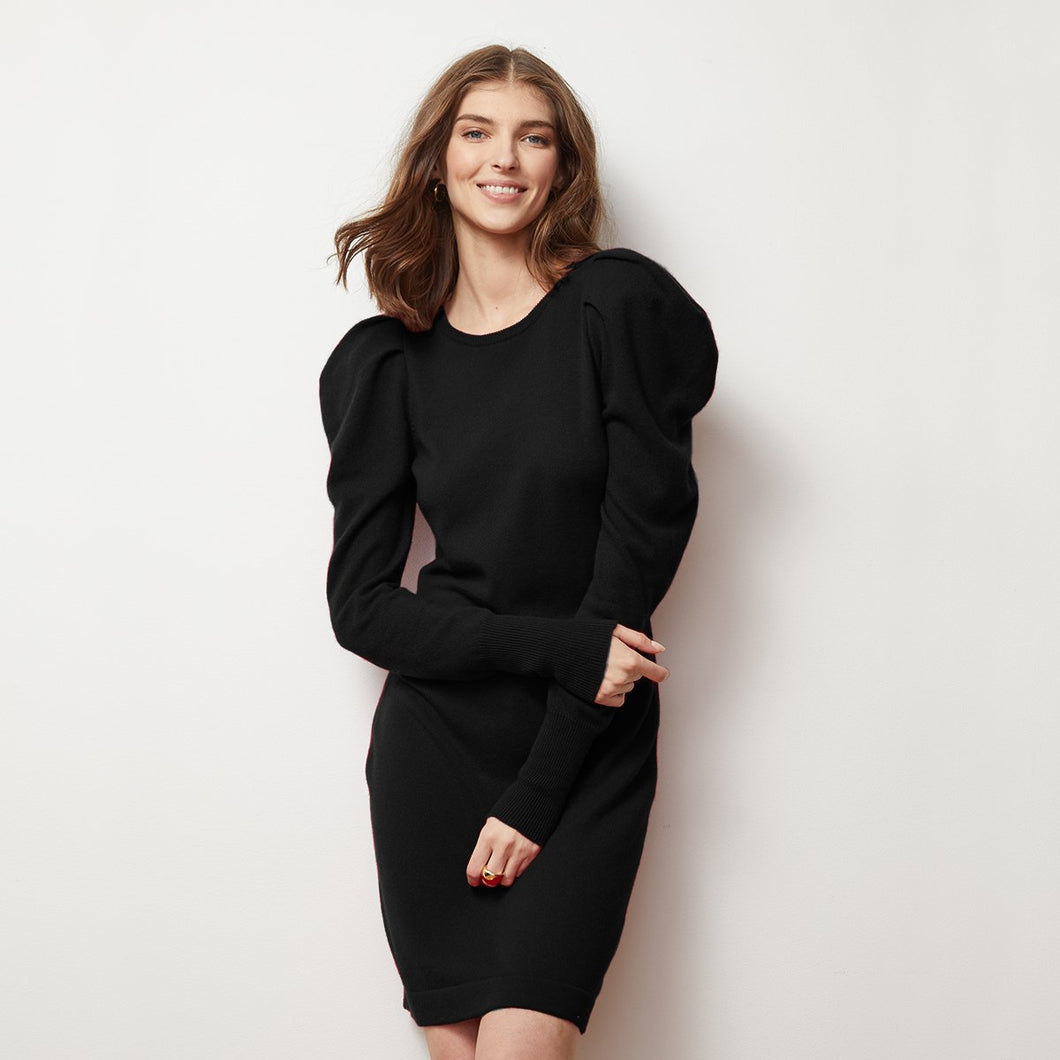 Black Draped Sleeve Dress | Little Black Dress | Puff Shoulder Dress | Autumn Cashmere