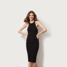 Load image into Gallery viewer, Halter Dress with Snap Detail | Little Black Dress | Women's Apparel & Night out dress | Viscose Blend | Autumn Cashmere