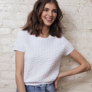 Cropped Seersucker Crew in White | Simple Blouse | White Top | Viscose Blend | Women's Apparel | Autumn Cashmere